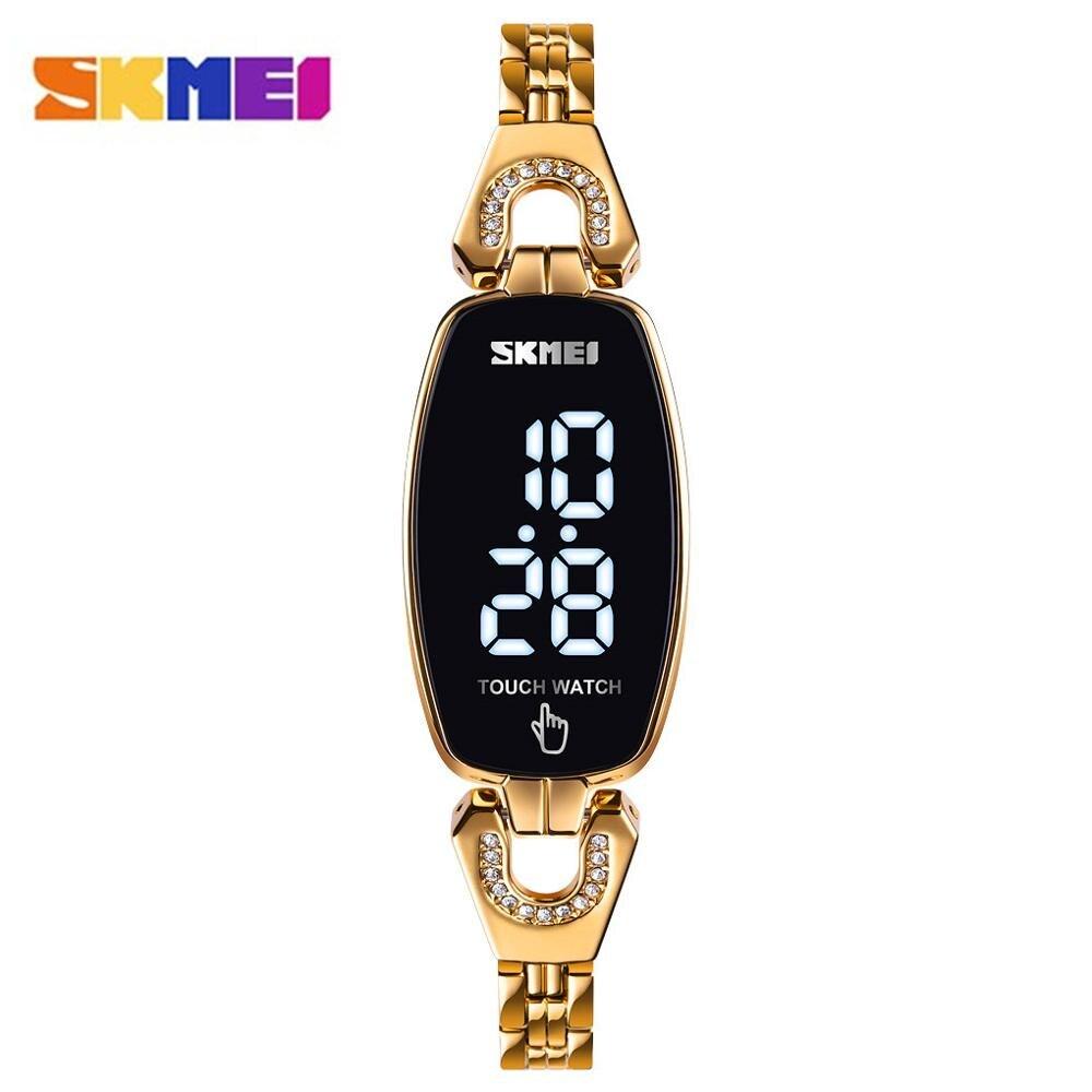 SKMEI LED Light Touch Screen Women Digital Watches Top Brand Crystal Luxury Ladies Clock Female Wristwatch Relogio Feminino 1588