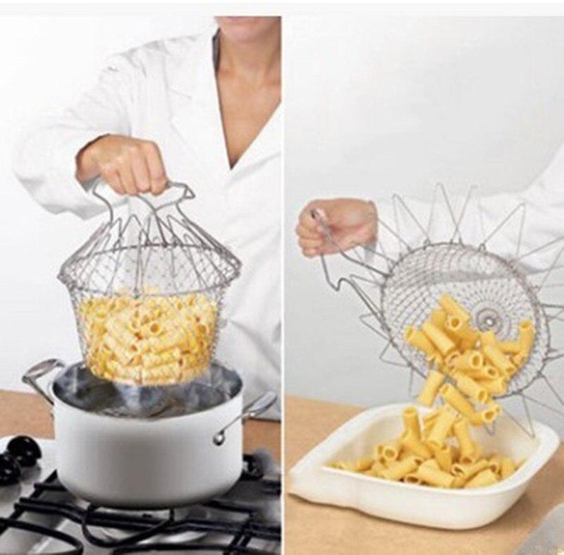 Foldable Steam Rinse Strainer Colander Magic Mesh Drainer Fryer Tool Kitchen