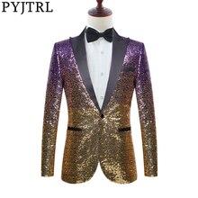 PYJTRL Men Stylish Gradual Change Gold Purple Blue Pink Green Sequins Suit Jacket Party Wedding Banquet Nightclub Singers Blazer