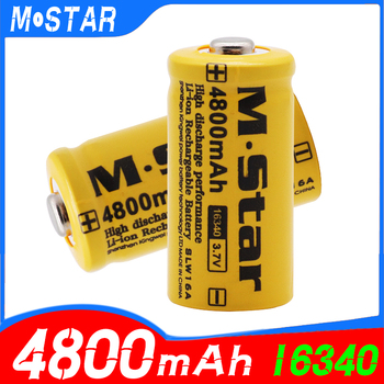 High capacity 4800mAh Rechargeable 3 7V Li-ion 16340 Batteries CR123A Battery For LED Flashlight For 16340 CR123A Battery tanie i dobre opinie Midnite Star 3500 mAh Baterie Tylko Pakiet 1 2 3 aa