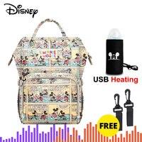 디즈니 대용량 usb 방수 기저귀 가방 옥스포드 헝겊 절연 가방 병 먹이 저장 가방 엄마 여행 배낭 기저귀 가방 엄마와 아이 -