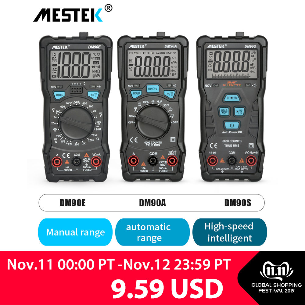 MESTEK High Precision Multimeter 6000 Counts Auto Range Tester Intelligent NCV True RMS Anti burning Universal Multimeters-in Multimeters from Tools