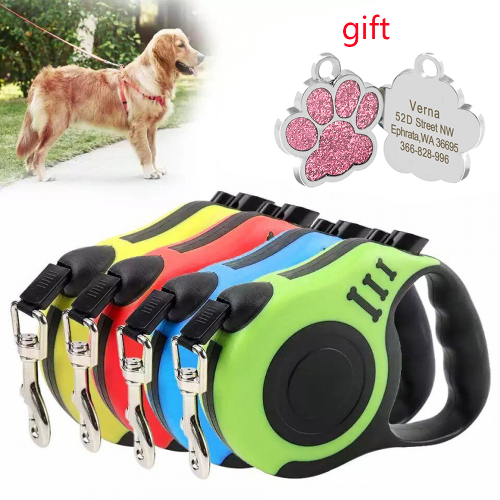 3/5M Meters Long Strong Pet Leash for Large Dogs Durable Nylon Retractable Big Dog Walking Leash Leads  Extending Dog Leash Rope
