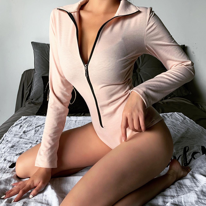 Hot Sale 2019 Autumn Winter Women Jumpsuit New Casual Full Sleeved Zipper Skinny Solid Wild Slim Fit Knitting Bottoming Bodysuit