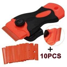 Carro rodo de vinil filme adesivos raspador cobre ferramenta raspador plástico & lâminas aço faca matiz ferramentas + 10 pçs lâmina plástico