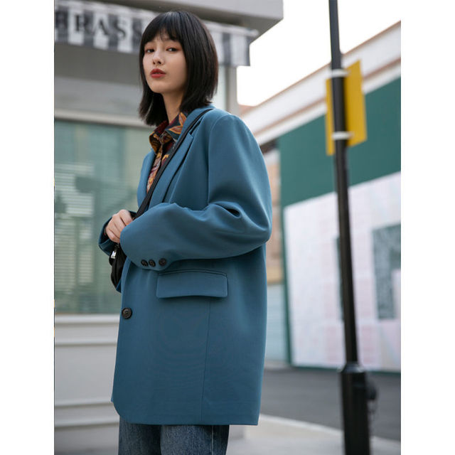 New Autumn Suit Jacket Female Spring And Blue Double-breasted Casual Temperament Ins Slim Black Suits Coats 3