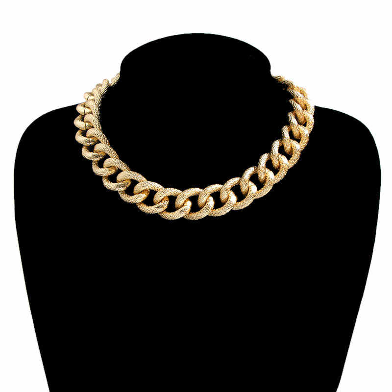 Flatfoosie ゴールドカラー分厚い厚いチェーンチョーカーネックレス女性男性ファッションステートメントネックレスパンク襟ファムチャームジュエリー