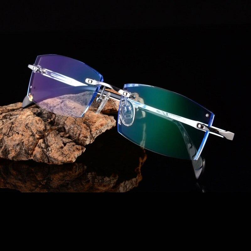 Reven Jate Titanium Rimless Diamond Cutting Man Glasses Frame Optical Prescription Eyeglasses Men Eyewear Fashion 9001
