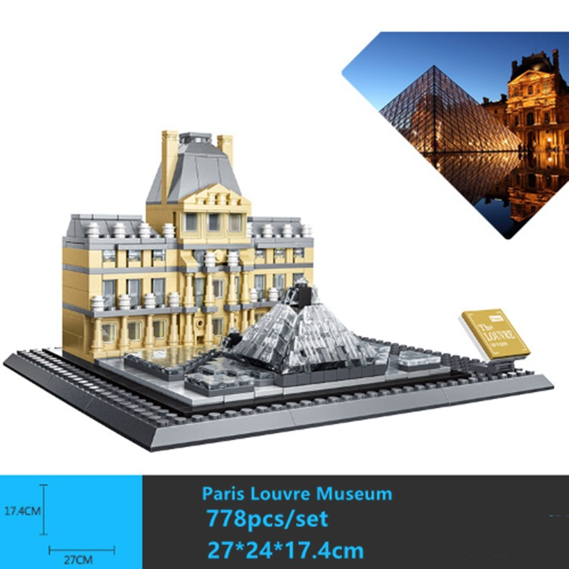 New World famous architectural Paris Louvre Museum fit city Building Blocks Bricks DIY Toys For Children Birthday gift image