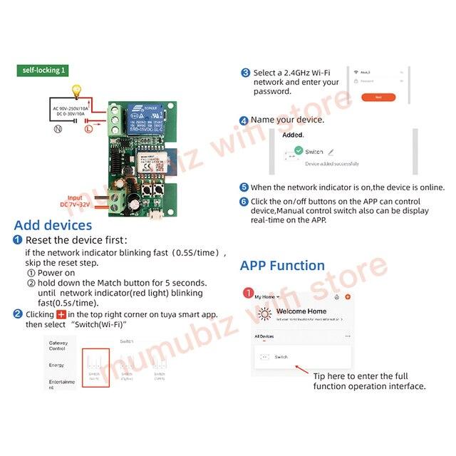 Smart Module USB 7-32V DIY 1 Channel Jog Inching Self-locking WIFI Wireless Smart Home Switch Remote Control with Amazon Alexa 3