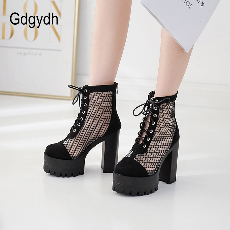 Gdgydh Mesh Ankle High Heels Boots Women Cross tied Rome Style Sexy Party Shoes Female Nightclub Heels Black Suede Drop Ship in Ankle Boots from Shoes
