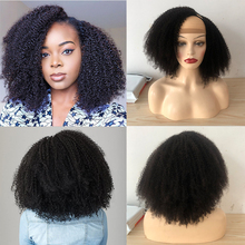 U-Part Wig Hair-Wig Human-Hair Curly Afro Kinky Glueless 4c 180-250-Density Black Women