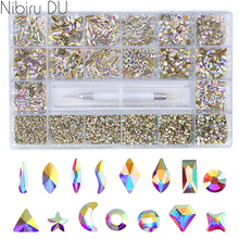 Super Set Multi-size Crystal AB Nail Rhinestones Drill pen Various Shapes 3D Nails Art Decorations Accessories SS4-12