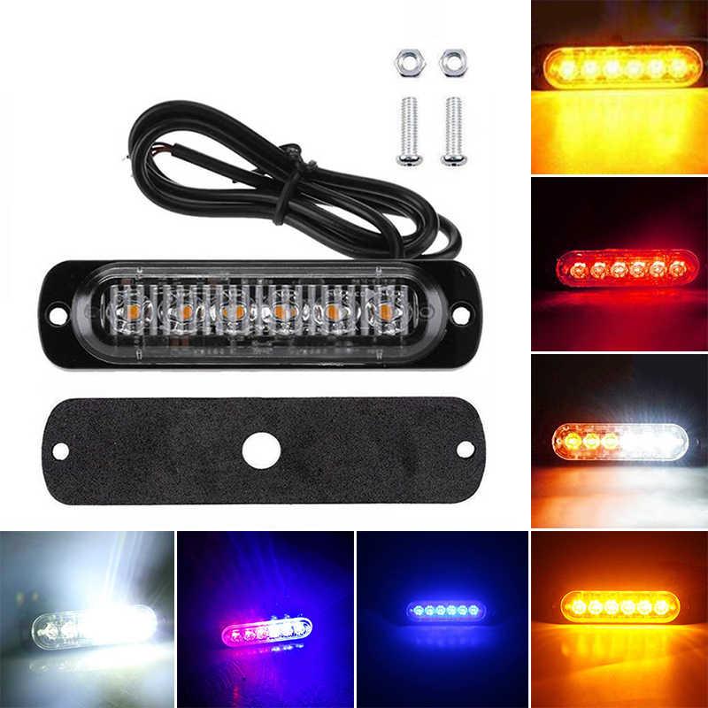 113x28,2x9,6 мм автомобиля Светодиодный проблесковый свет Высокое качество 6 светодиодный 12V ~ 24V 18W Водонепроницаемый автомобиля светотехника для грузовика вспышка опасности Предупреждение свет лампы
