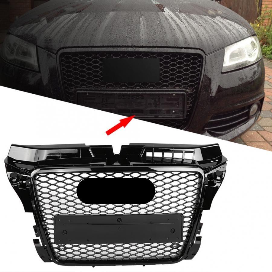 Для RS3 Style Front Sport Hex Mesh Honeycomb Hood решетка глянцевый черный для Audi A3/S3 8P 2009 2010 2011 2012 2013