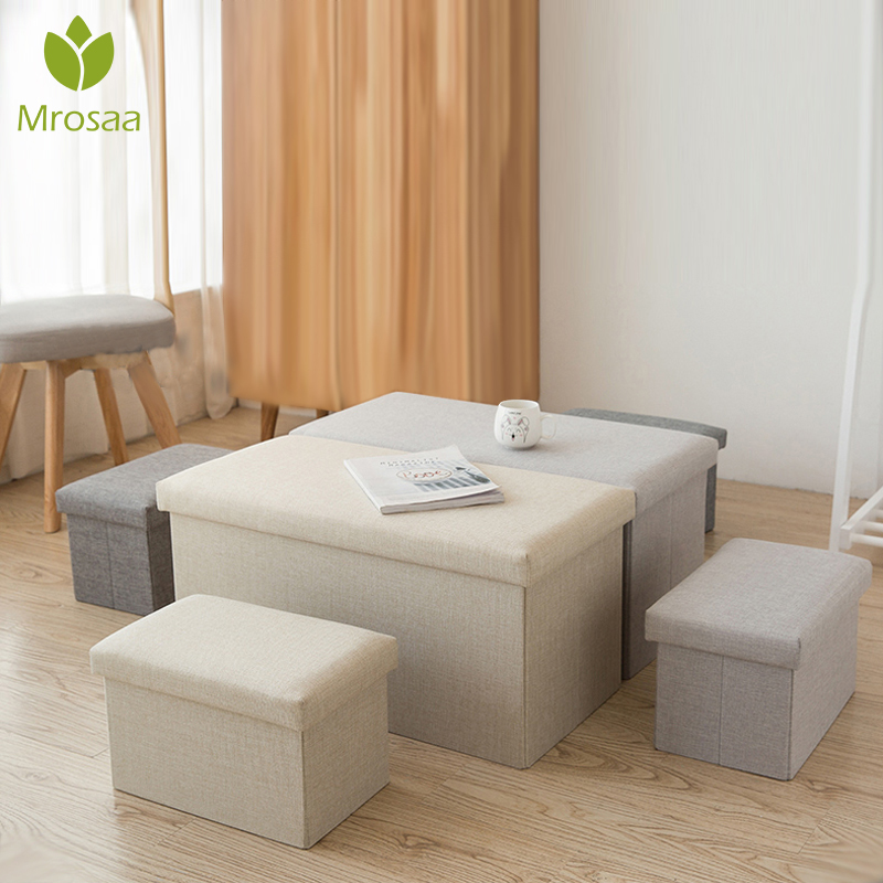 NEW! Multifunctional Foldable Fabric Storage Stool Bench Box Linen Small Sofa Minimalist Artistic Style Kid Chair Foot Stool