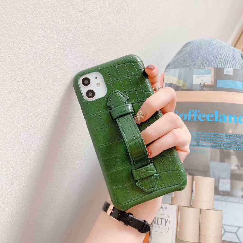 Di modo di Alta-end di Affari coccodrillo Verde Wristband Della Staffa di Caso per il iphone 11 Pro Max 11 Pro 11all-inclusive Cover per iphone X