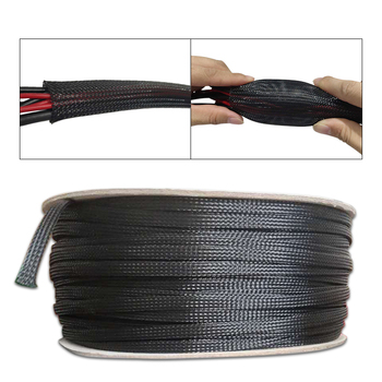 Tube Nylon Mesh 5M 3mm to 100mm Spiral Wrapping Black Insulated Braid Sleeping Tight PET Wire Expandable Cable Sleeve