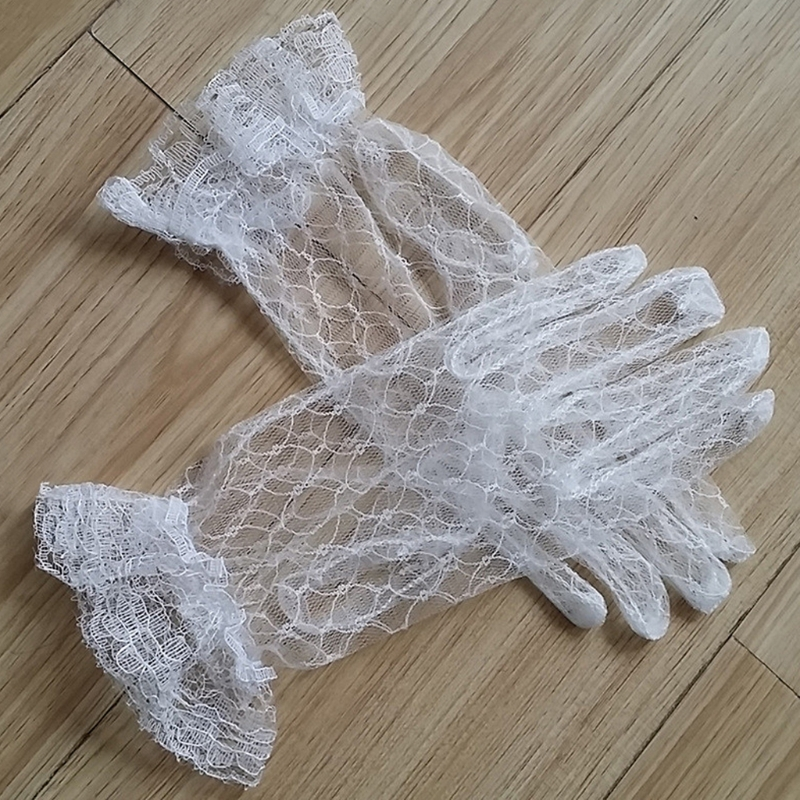 Bridal Lace Net Yarn Gloves Wrist Length Gloves Finger Short Wedding Accessories AXYD