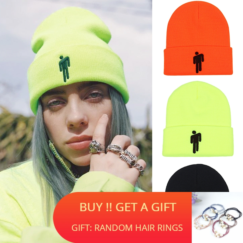 Hat Knitted Beanies Embroidery Women Bonnet Hip-Hop Billie Eilish Cotton Casual Solid