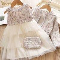 Urso líder meninas vestido nova primavera menina vestido de festa elegante bordado crianças menina gravata borboleta princesa vestido terno roupas doces 2 6y