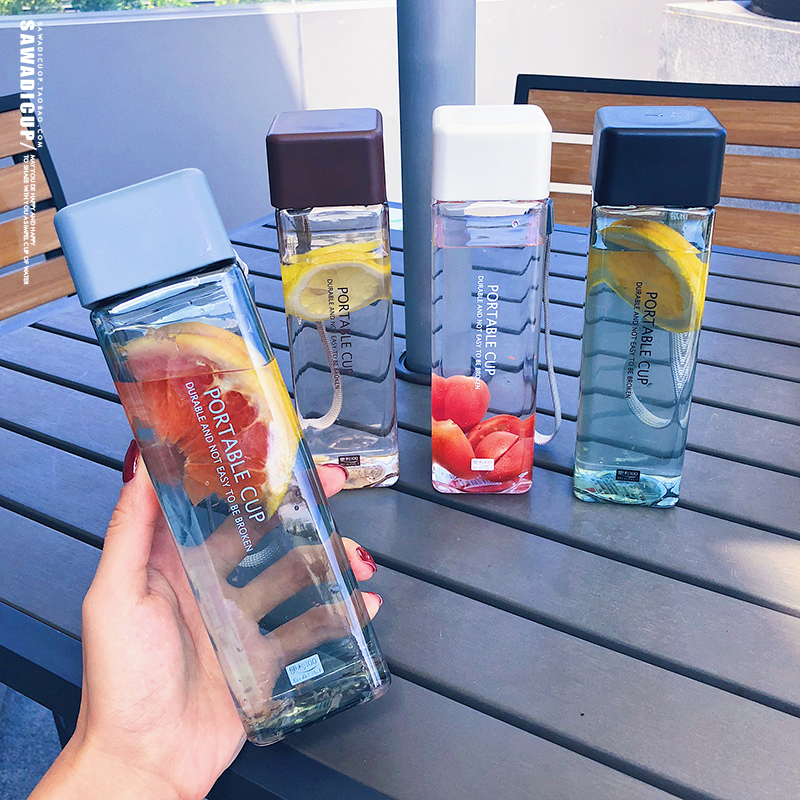 H05fc8592bbc54dde84cbb34513429003H 500ml Cute New Square Tea Milk Fruit Water Cup for Water Bottles Drink with Rope Transparent Sport Korean Style Heat Resistant