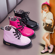 купить Winter Kids Snow Boots Brand Girls Princess Shoes Rubber Boots Children Martin Boots PU Leather Waterproof Motorcycle Boots дешево