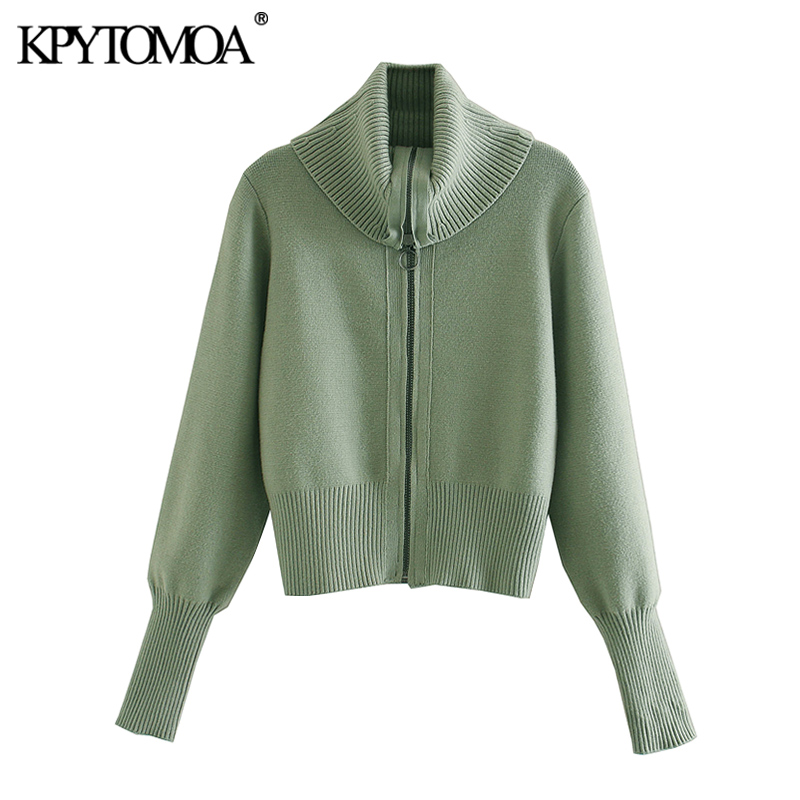 KPYTOMOA Women 2020 Chic Fashion Zipper Knitted Cardigan Sweater Vintage High Collar Long Sleeve Female Outerwear Chic Tops