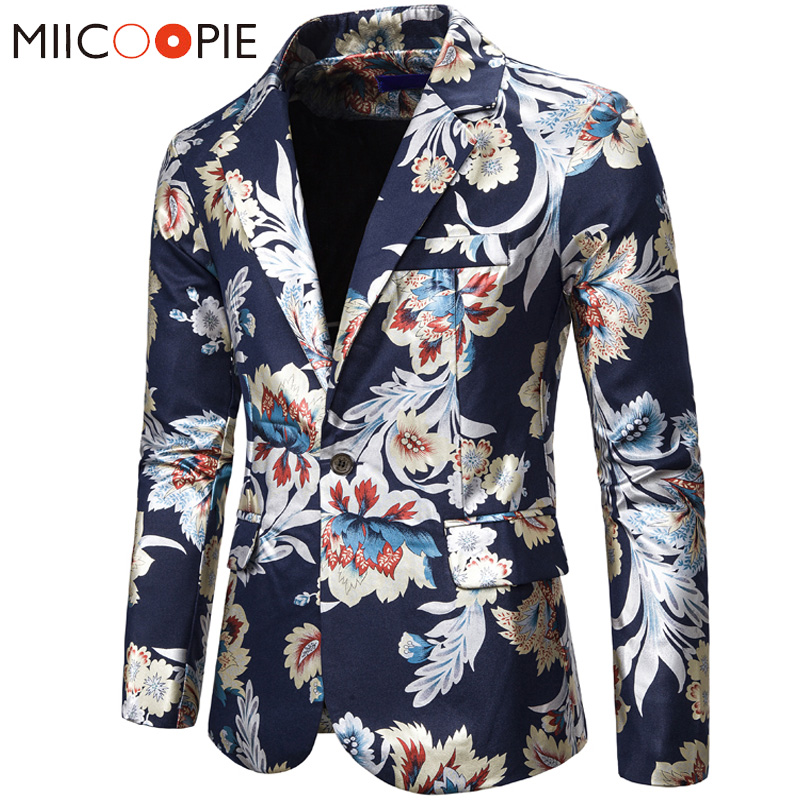Single Button Printed Floral Blazer Men Luxury New Formal Slim Fit Wedding Party Jacket Suit Men Blazzer Hombre White Black Navy