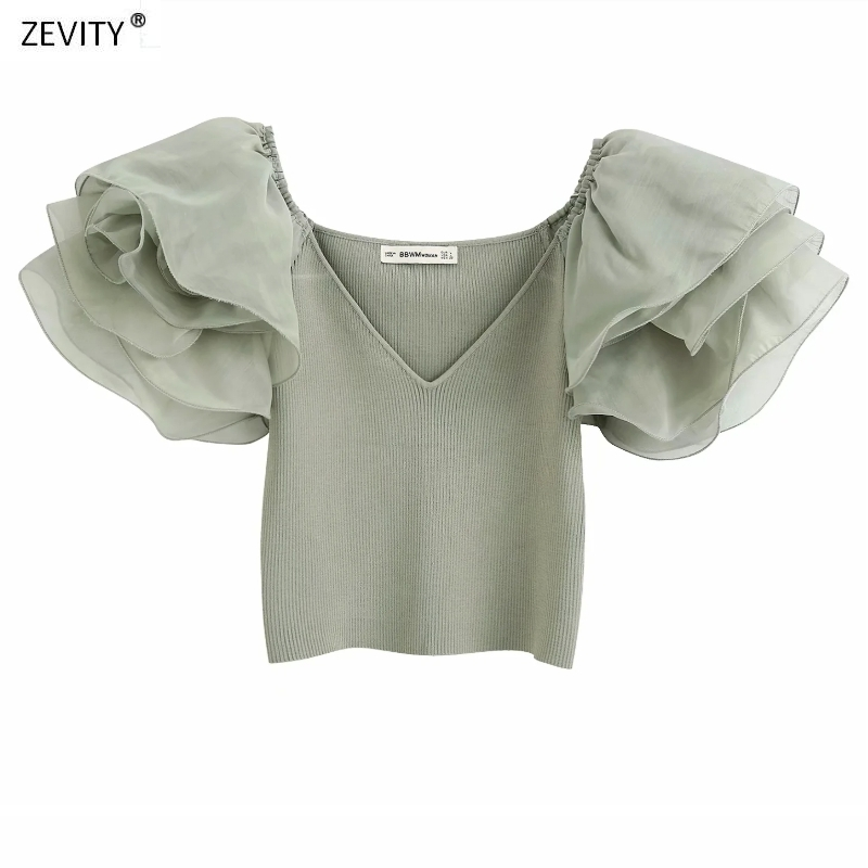 New 2020 women v neck puff sleeve patchwork knitted shirt chic ladies ruffles organza short sleeve blouses femininas tops LS6589