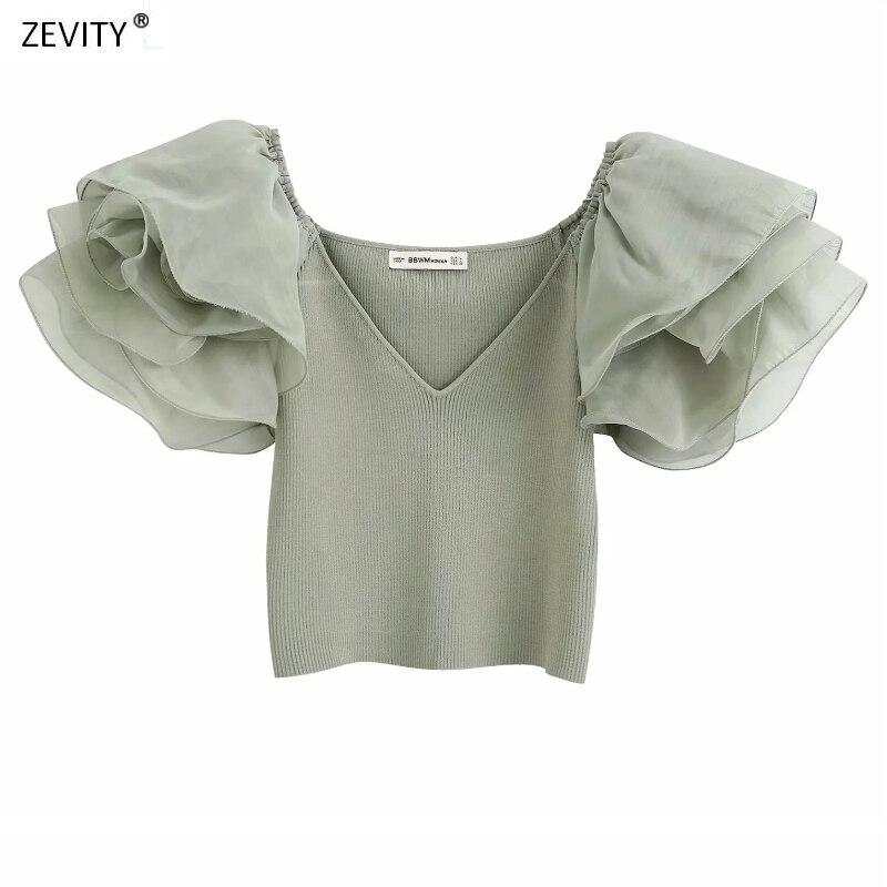 New 2020 Women V Neck Puff Sleeve Patchwork Knitted Shirt Chic Ladies Ruffles Organza Short Sleeve Blouses Femininas Tops LS6589