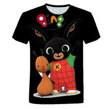 Bonito bing 4-14 crianças roupas de manga curta camiseta meninas camisa dos desenhos animados coelho impresso crianças t verão bebê topos meninos camisetas