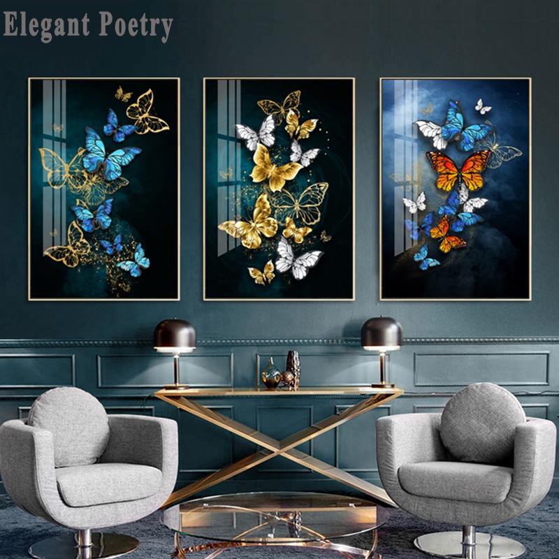 Renkli kelebek İskandinav tarzı posteri tuval baskı Minimalist soyut duvar sanatı boyama dekoratif resim Modern ev dekor