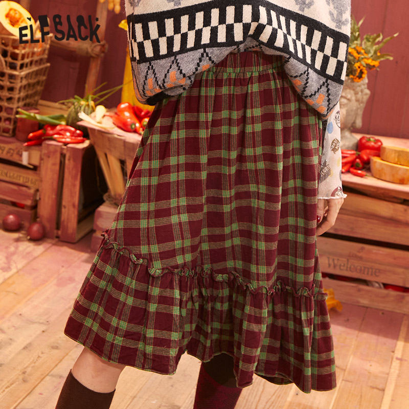 ELFSACK Plaid A Line Elastic Waist Vintage Casual Preppy Skirts Women 2020 Spring Irregular Ruffles Hem Girly Korean Daily Skirt