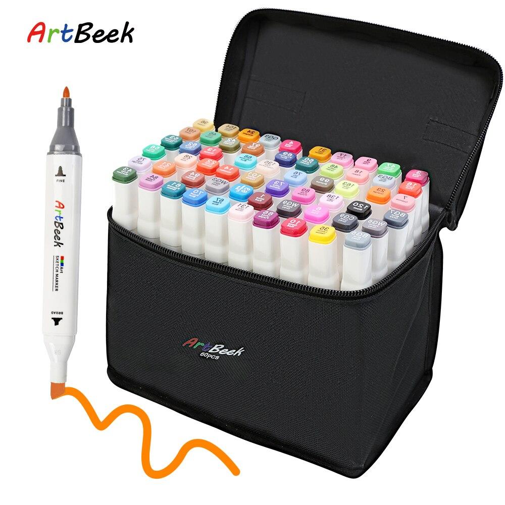 ArtBeek маркеры для рисования кисть эскиз двойной головкой на спиртовой основе маркеры для скетчинга манга ручки для рисования картины товары ...