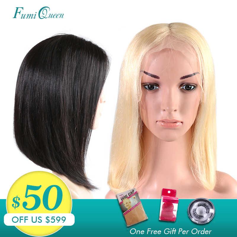 FumiQueen 13x4/13x6 Bob Dantel Ön Peruk Brezilyalı Düz Remy Saç Doğal Siyah/# 613 Sarışın Kısa Bob İnsan Saç Peruk
