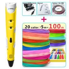 цена на myriwell 3d pens + 20 * 5m ABS Filament,3 d pen 3d model Creative 3d pen doodlerChildren gifts3d drawing pen-3d 1.75mm ABS/PLA