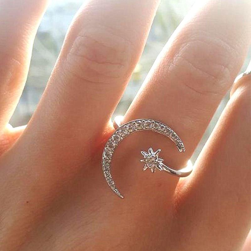 Женское Обручальное кольцо с Луной и звездами, серебристого цвета