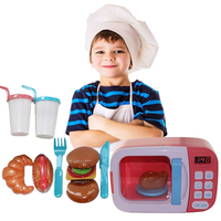 Children Pretend Play Kitchen Toys Electric Home Appliances Simulation Microwave Oven with Light for Girls Cooking Toys