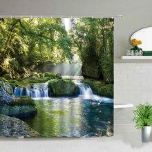 Занавеска для душа «Водопад» с природным пейзажем s зеленые