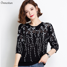 2021 New Women's T-shirts Summer Half Sleeve Thin Knit Top Female Floral Print Hollow Black/White Woman T-shirts