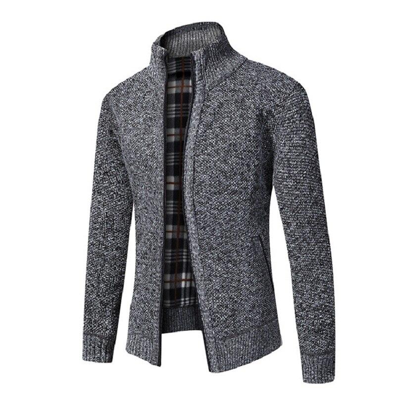 Kb 2021 outono inverno nova jaqueta masculina ajuste fino gola com zíper jaqueta masculina sólido algodão grosso quente jaqueta