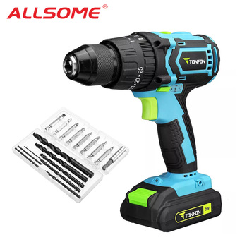 ALLSOME Tonfon 3 in 1 20V Rechargable Impact Drill Cordless Electric Screwdriver Drill with Bits HT2850