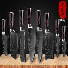 Qing Brand 8 inch Japanese Kitchen Knives Laser Damascus Pattern Chef Knife Sharp Santoku Cleaver Slicing Utility Tool