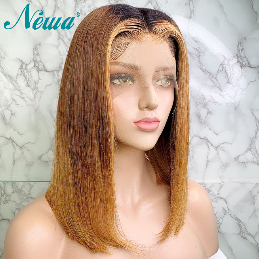 Newa Hair Ombre Lace Front Human Hair Wigs With Baby Hair Straight Lace Front Wig 130/150% Brazilian Remy Hair 13x6 Bob Wigs