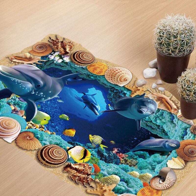 Autocollant Mural 3D sous-marin en forme De dauphin, décoration pour chambre denfant, 60x90cm