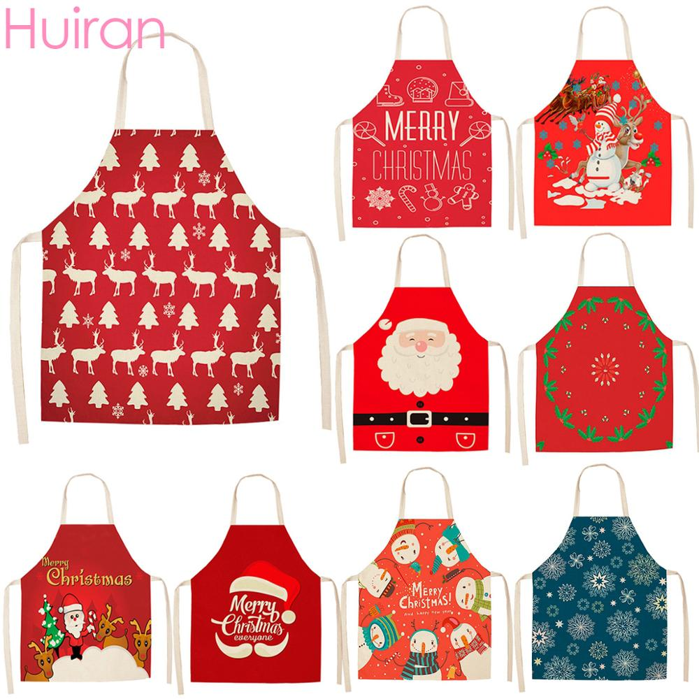 Huiran Merry Christmas Apron Santa Claus Decorations For Home 2019 Navidad 2020 Happy New Year Kitchen Noel