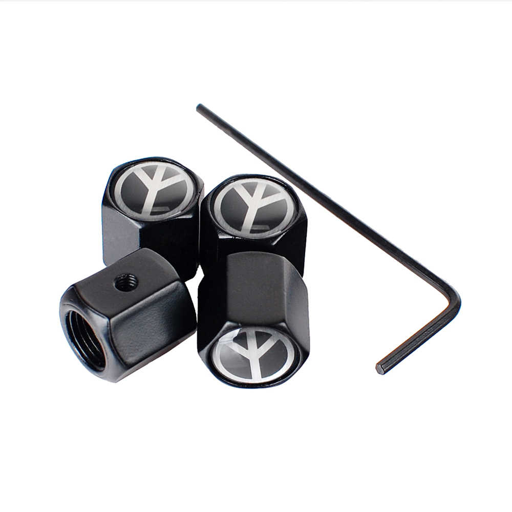 Mobil Styling Auto Roda Rim Stiker Tutup Batang Katup Ban untuk Perdamaian Logo untuk Opel Honda Civic Chrysler 300 Encore touareg Escort