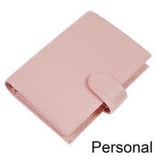 Motom planejador de tamanho pessoal regular de couro genuíno com 25 mm anéis de pasta agenda caderno organizador diário sketchbook