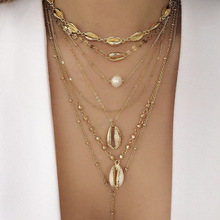 Винтажные бусины золотистого цвета, ожерелье-чокер в виде раковины каури для женщин, ожерелье с подвеской в виде монеты с блестками, колье с имитацией жемчуга